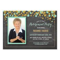 Retirement Photo Mint Chalk Party Invitation