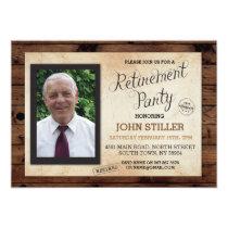 Retirement Photo Wood Rustic Party Invitation
