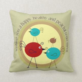 Retirement Pillow Retro Birds Design