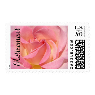 Retirement postage stamps Pink Rose Flower Retired