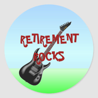 RETIREMENT ROCKS ROUND STICKER
