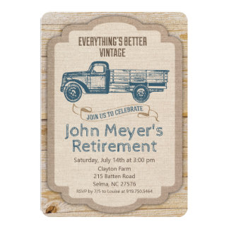 Retirement Rustic Pickup Truck Invitation