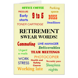 Retirement Swear Words! (multicolour) Card