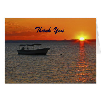 Retirement Thank You Fishing Boat at Sunset Card