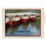 Retirement Thank You Note, Three Red Canoes Stationery Note Card