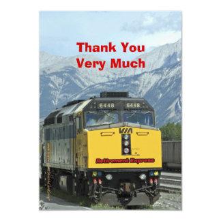 Retirement Thank You, Yellow Train Railroad Card