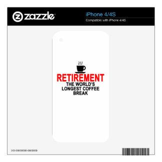 Retirement World's longest coffee break T-Shirts.p iPhone 4S Skin