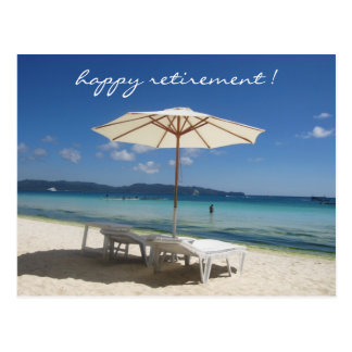 retiring beach umbrella postcard