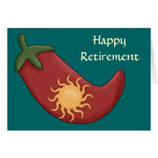 Retiro caliente de la pimienta de chile rojo - tarjeta de felicitación