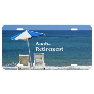 Retiro de Aaah…, relajándose en la playa, Placa De Matrícula