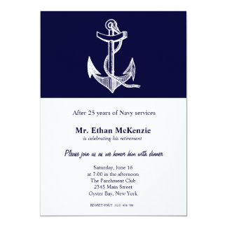 """Retiro de la marina de guerra invitación 5"""" x 7"""""""