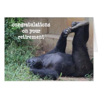 Retiro divertido tarjeta del ejercicio del gorila