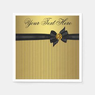 Retiro elegante del negro y del oro servilletas desechables