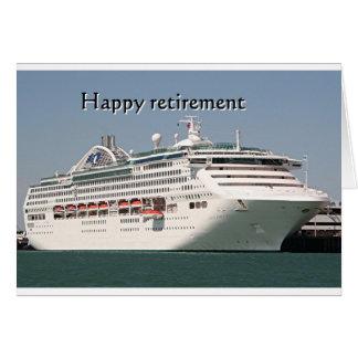 Retiro feliz: barco de cruceros 2 tarjeta de felicitación