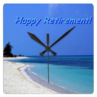 Retiro feliz - cielo azul, océano azul reloj cuadrado