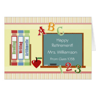 Retiro feliz del profesor de estudiantes tarjeta de felicitación