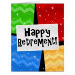 Retiro feliz, fiesta de los cuadrados del color tarjeta de felicitación grande