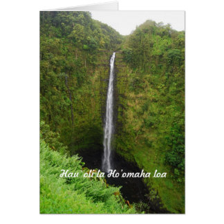 Retiro feliz, Hawaiian, caídas de Akaka, tarjeta