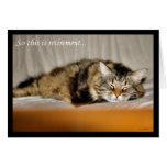 Retiro feliz que deja el gato el dormir del trabaj felicitación