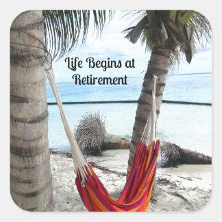 Retiro: Hamaca en la playa Pegatina Cuadrada