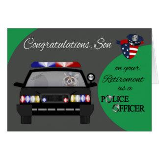 Retiro hijo tarjeta de felicitación de la policí