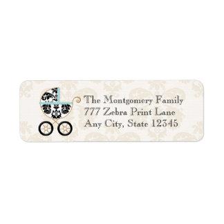 Retorno del carro azul de bebé de la impresión del etiquetas de remite