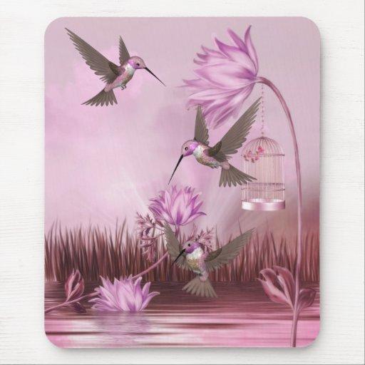 Retratamiento rosado del pájaro de los colibríes d alfombrilla de ratones