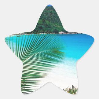 Retratamiento tropical Seychelles de la playa Pegatina En Forma De Estrella