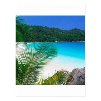 Retratamiento tropical Seychelles de la playa Tarjeta Postal