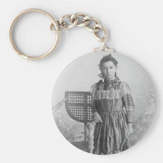 retrato 1900 s del chica llavero