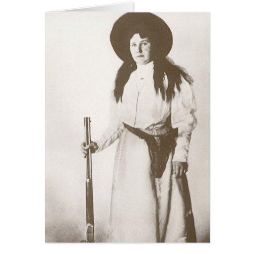 Retrato 1910 de la foto de una vaquera que tarjeta de felicitación