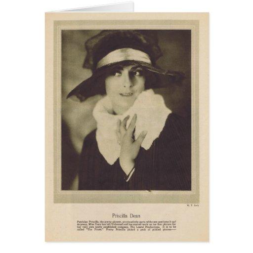 Retrato 1924 del vintage del decano de Priscilla Tarjeta De Felicitación