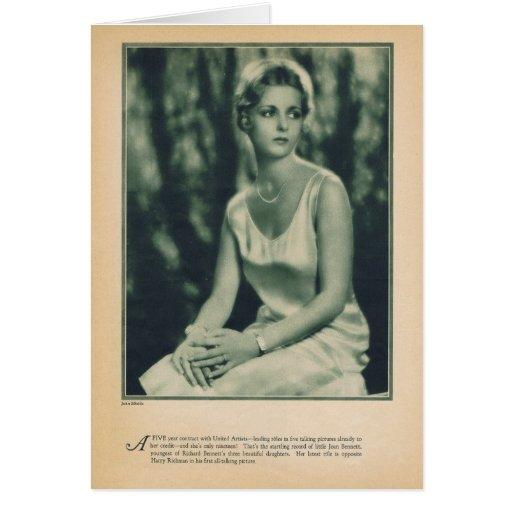 Retrato 1930 del vintage de Joan Bennett Tarjeta De Felicitación