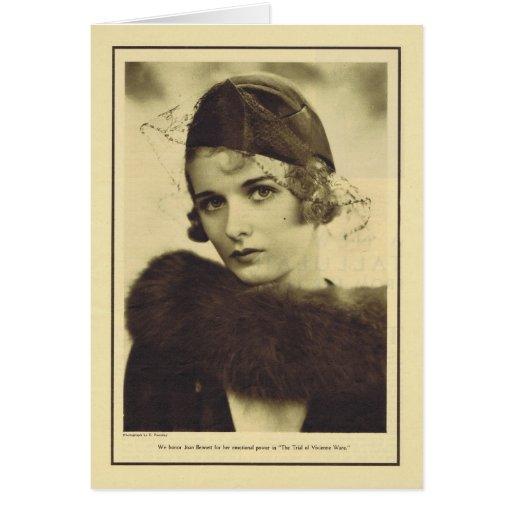 Retrato 1932 del vintage de Joan Bennett Tarjeta De Felicitación
