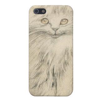 Retrato 4s del gatito del gato del dibujo de lápiz iPhone 5 funda