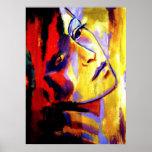 Retrato abstracto de una pintura de la mujer - el  poster