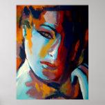 Retrato abstracto de una pintura de la mujer - el  póster