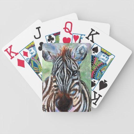 Retrato ACEO de la cebra Baraja Cartas De Poker