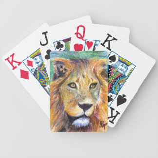 Retrato ACEO del león Barajas De Cartas