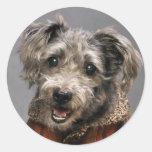 Retrato adorable de Terrier Pegatinas Redondas