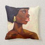 Retrato africano de la mujer de junio (arte de cojín