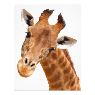 Retrato aislado del png de la jirafa plantillas de membrete