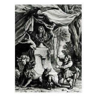 Retrato alegórico de Jean de La Fontaine Tarjetas Postales