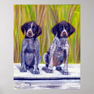 Retrato alemán del perro de perritos del indicador poster