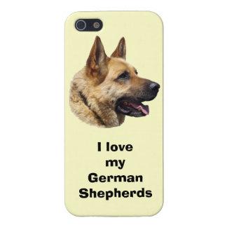 Retrato Alsatian del perro de pastor alemán iPhone 5 Coberturas
