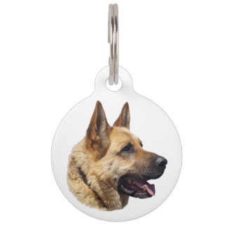 Retrato Alsatian del perro de pastor alemán Placa Para Mascotas