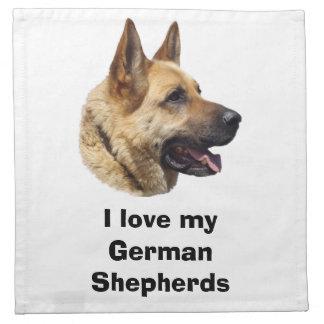 Retrato Alsatian del perro de pastor alemán Servilleta Imprimida