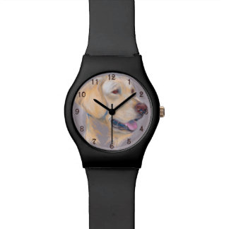 Retrato amarillo del labrador retriever reloj de mano