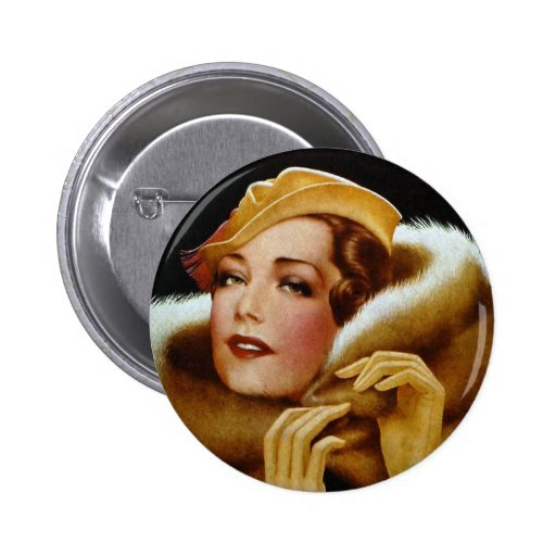 Retrato ambarino retro de la belleza de las mujere pin redondo de 2 pulgadas