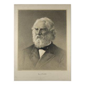 Retrato americano de Henry Wadsworth Longfellow Invitación 16,5 X 22,2 Cm